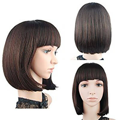 Short Bob Hair with Flat Bangs