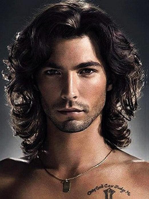 Black Curly Mens Wig