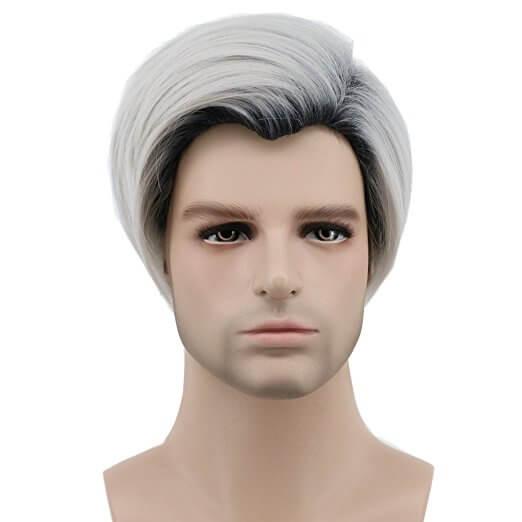 Short Dark and White Mens Wig